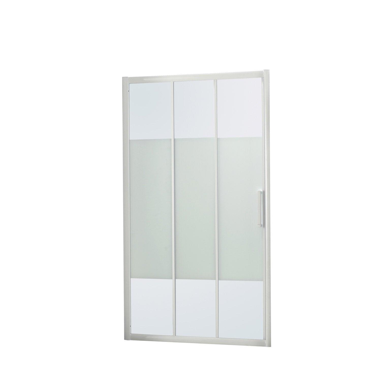 Porte de douche coulissante l 100 5 cm verre s rigraphi quad leroy merlin - Porte coulissante douche 100 ...
