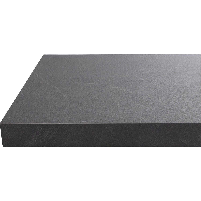 Plan de travail droit stratifi noir effet luna 315 x 65 cm p 38 mm ler - Plan de travail stratifie leroy merlin ...