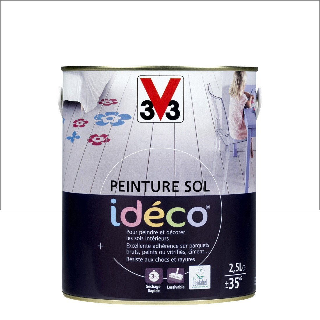 Peinture sol int rieur d co v33 blanc 2 5l leroy merlin - Peinture sol ideco v33 ...