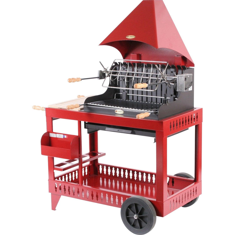 Barbecue au charbon de bois le marquier sur chariot for Chariot de jardin leroy merlin