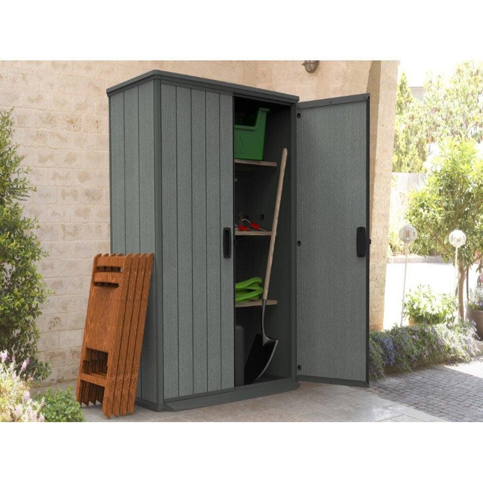 Armoire de jardin r sine gris x x cm for Leroy merlin mobiliario de jardin