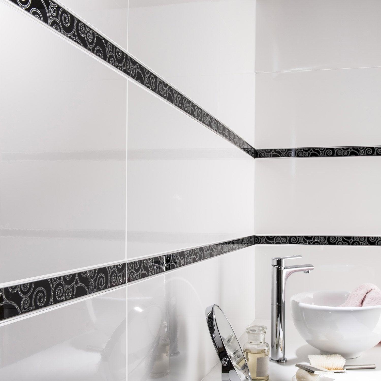 Listel sunny volute noir argent l x cm leroy merlin - Carrelage salle de bain noir ...