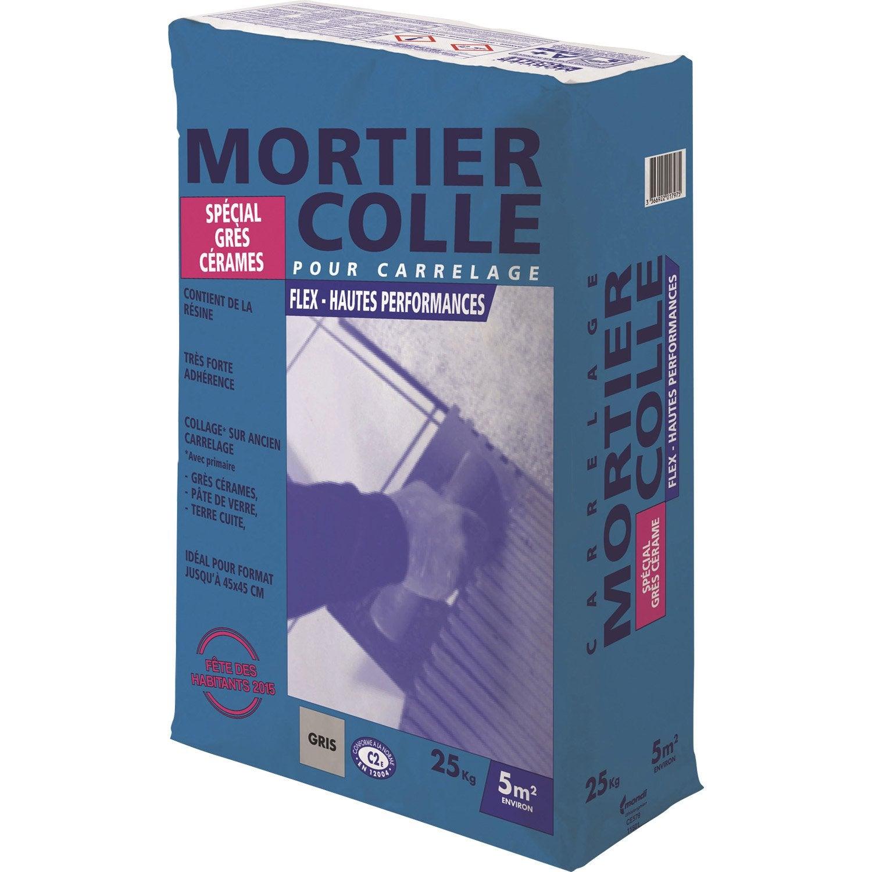 Mortier colle pour carrelage mur et sol 25 kgs gris for Mortier colle carrelage castorama