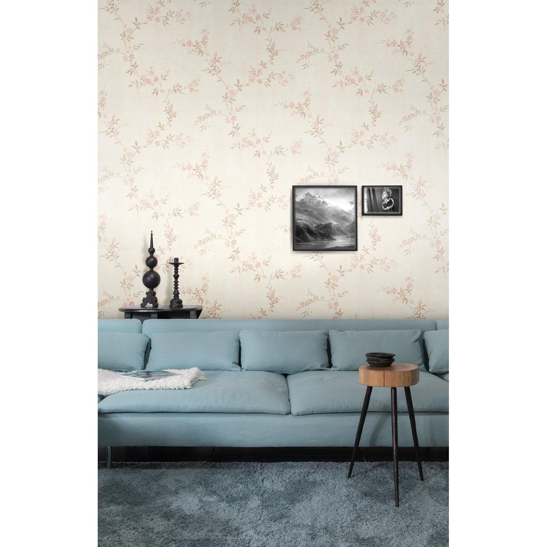 papier peint flora beige marron rose intiss legend. Black Bedroom Furniture Sets. Home Design Ideas