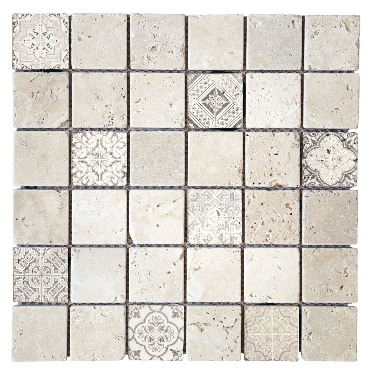 Mosa que mur renaissance travertin beige naturel 4 8 x 4 8 cm leroy merlin for Mosaique travertin leroy merlin