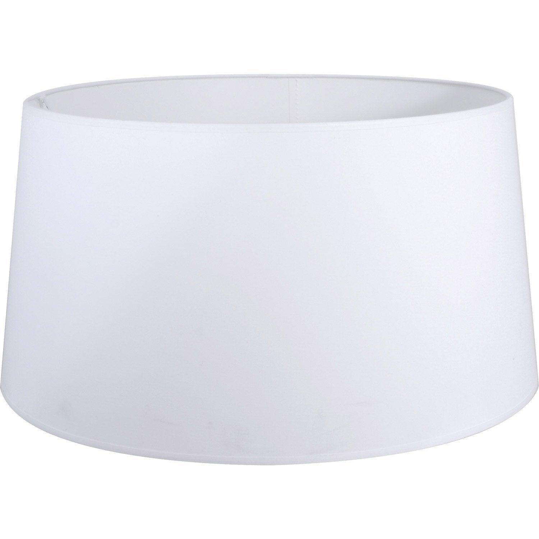 Abat jour drum 50 cm coton blanc blanc n 0 inspire - Abat jour suspension leroy merlin ...