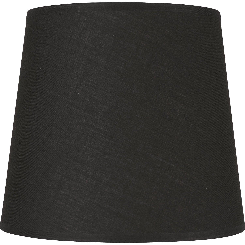 abat jour conique 12 cm coton noir inspire leroy merlin. Black Bedroom Furniture Sets. Home Design Ideas