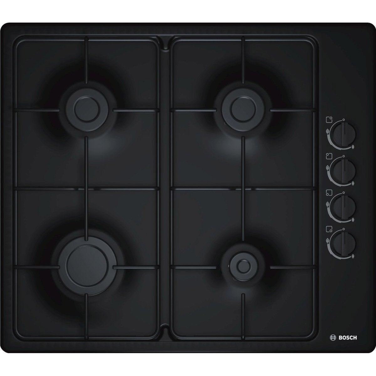 Plaque de cuisson gaz 4 foyers noir bosch pbp6b6b80 - Leroy merlin plaque de cuisson ...