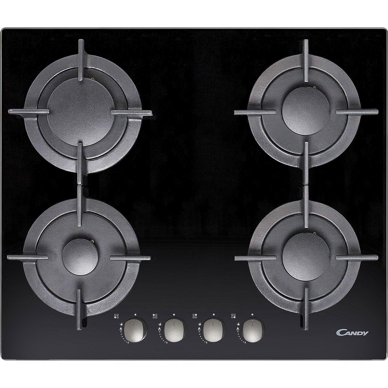 Plaque de cuisson gaz 4 foyers noir candy cvg64gnx - Plaque de cuisson leroy merlin ...
