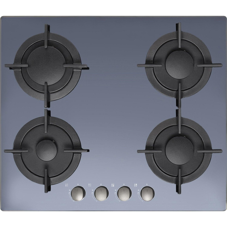 plaque de cuisson gaz 4 foyers miroir noir cadre inox. Black Bedroom Furniture Sets. Home Design Ideas