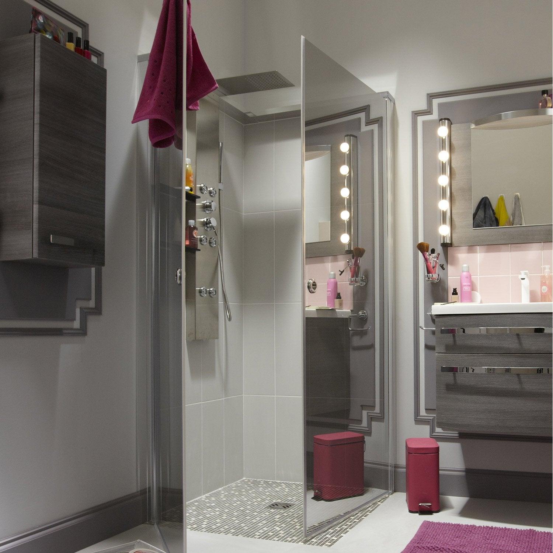 Paroi de douche l 39 italienne cm miroir luce leroy for Douche italienne sans paroi