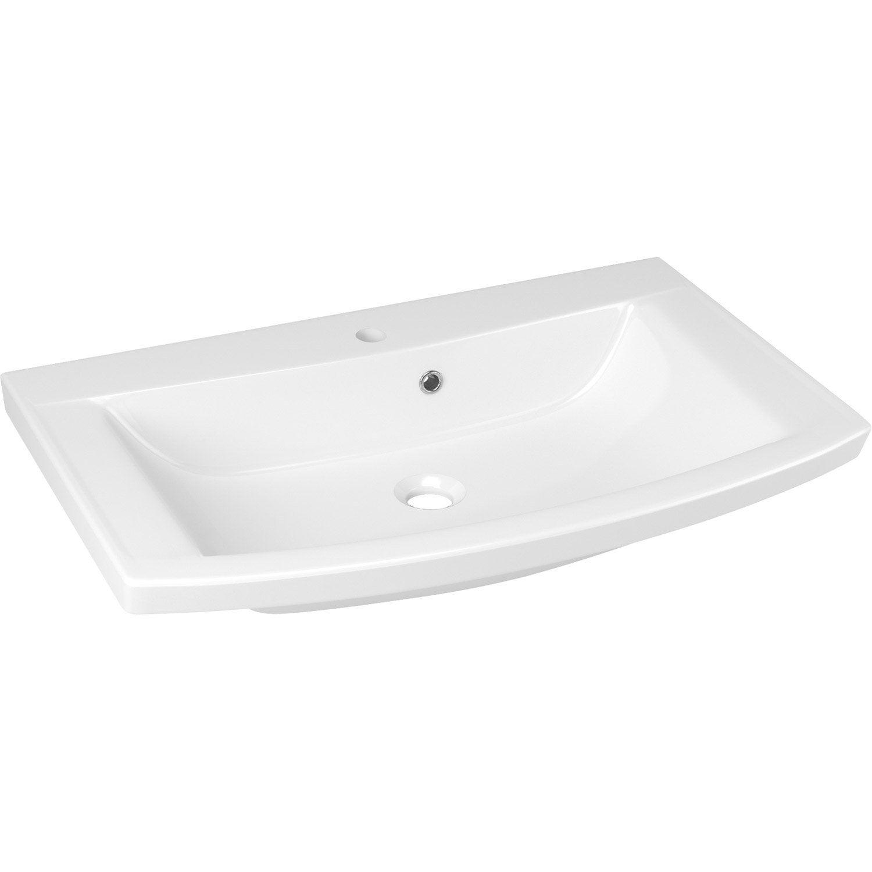 Plan vasque simple image marbre de synth se 74 8 cm for Plan vasque leroy merlin