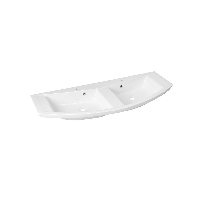 Plan vasque double image marbre de synth se 134 4 cm for Double vasque 140 cm leroy merlin