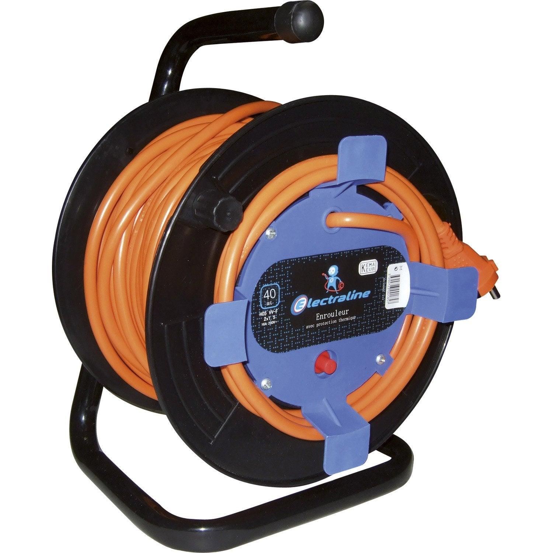 Enrouleur de câble électrique de jardin, 40 m, ELECTRALINE  ~ Enrouleur Cable Bois