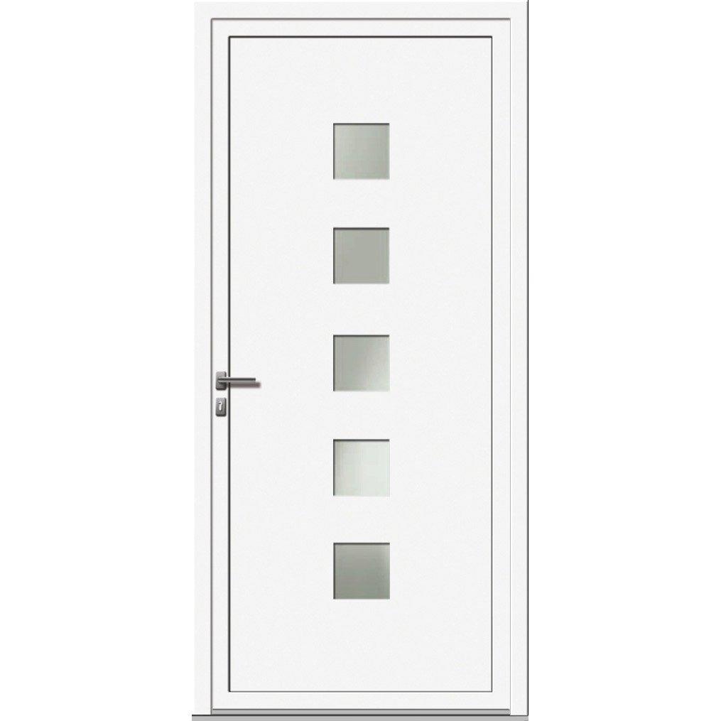 Porte d 39 entr e en aluminium prezo artens 215 x 90cm poussant droit ler - Leroy merlin porte entree alu ...