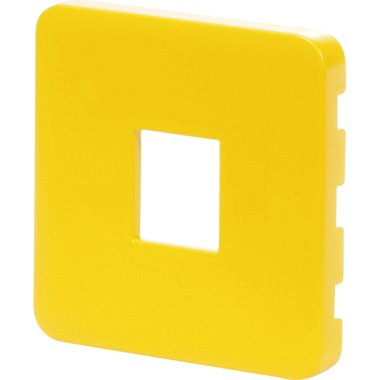 cache prise rj45 prise double chargeur usb cosy lexman jaune anis n 4 mat leroy merlin. Black Bedroom Furniture Sets. Home Design Ideas