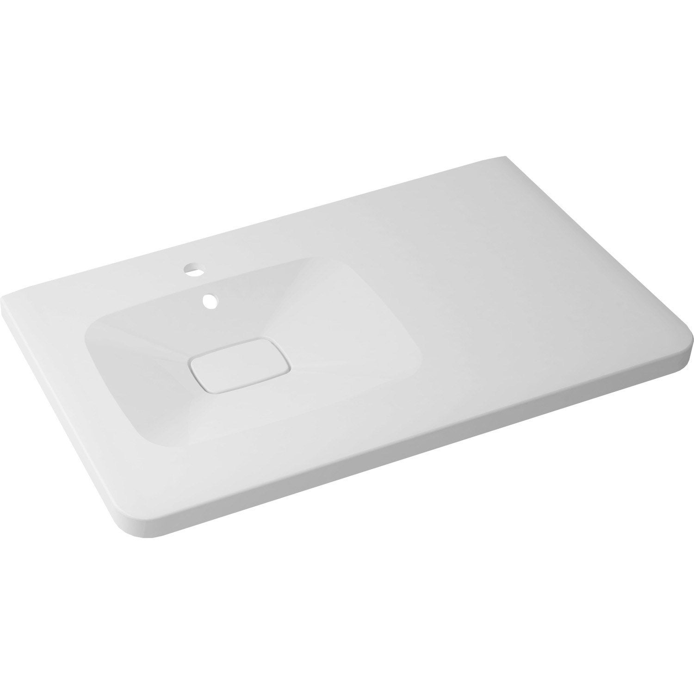 Plan vasque simple shine marbre de synth se 90 cm leroy for Leroy merlin plan vasque