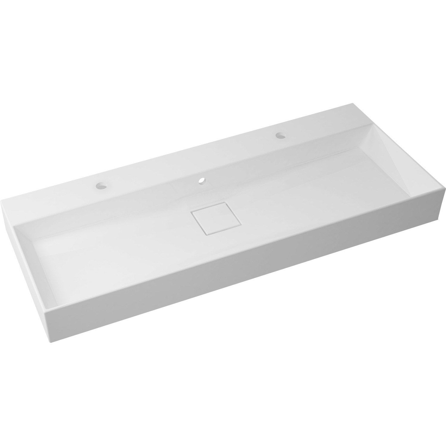 Plan vasque simple pure marbre de synth se 120 cm leroy for Meuble salle de bain simple vasque 120 cm