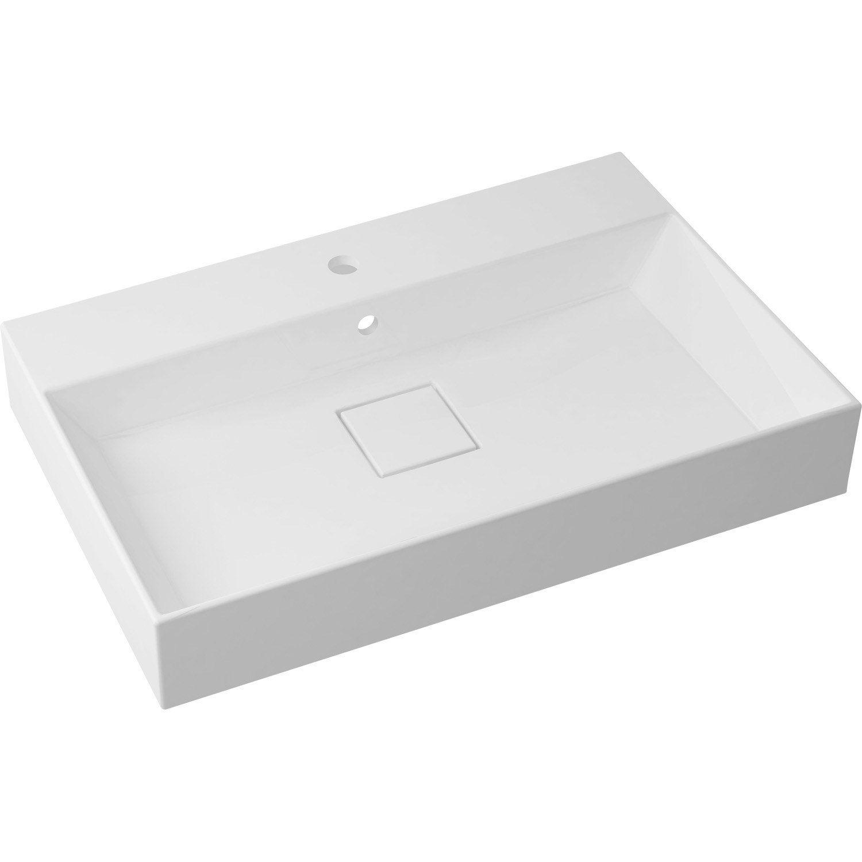 plan vasque simple marbre de synth 232 se 75 cm leroy merlin