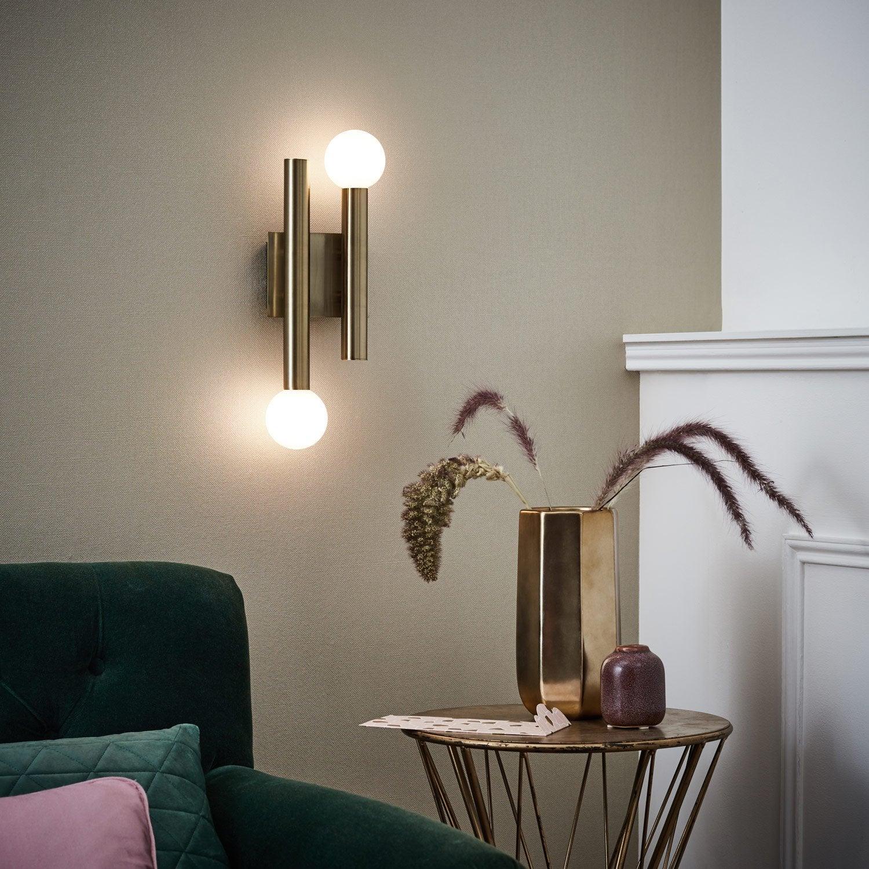 applique vintage g9 lucky m tal laiton bross 2 brilliant leroy merlin. Black Bedroom Furniture Sets. Home Design Ideas