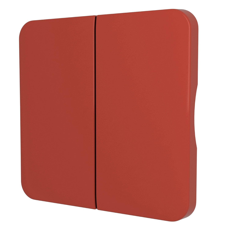 Cache commande d 39 clairage double cosy lexman rouge rouge - Leroy merlin commande ...