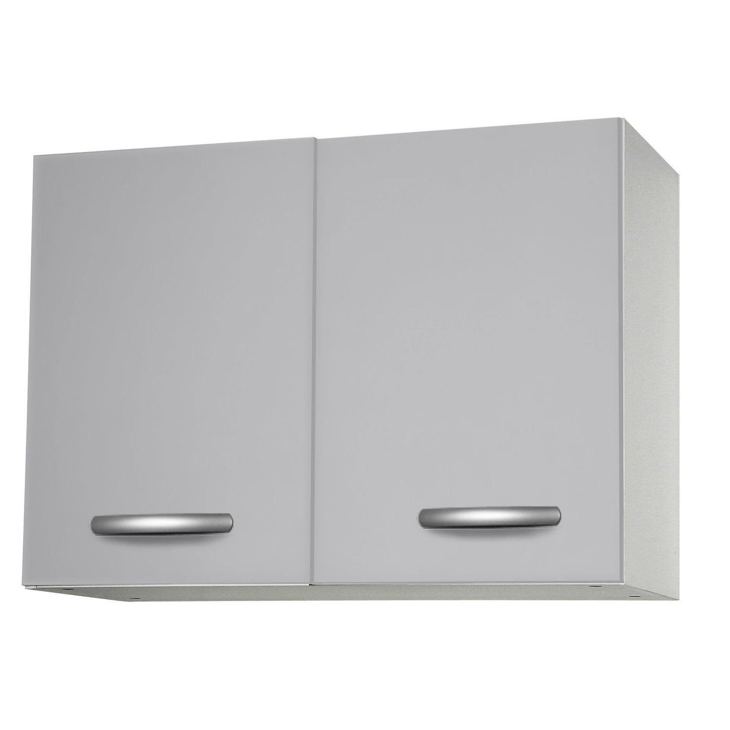 Meuble de cuisine haut 2 portes gris aluminium for Portes elements cuisine leroy merlin