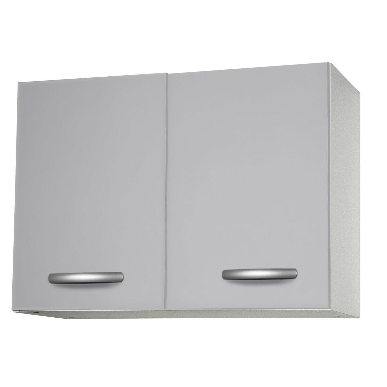 Meuble de cuisine haut 2 portes gris aluminium h57 x l80 for Meuble aluminium cuisine
