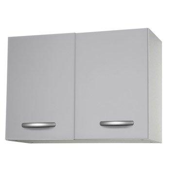 Meuble de cuisine haut 2 portes gris aluminium h57 x l80 for Portes elements cuisine leroy merlin