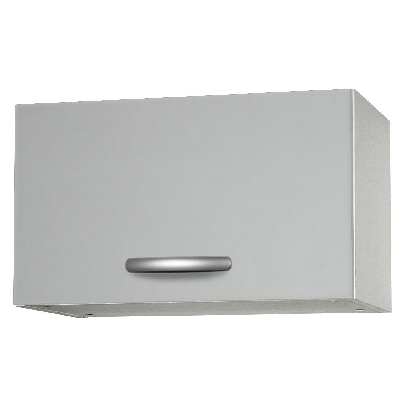 Meuble de cuisine haut 1 porte gris aluminium for Portes elements cuisine leroy merlin