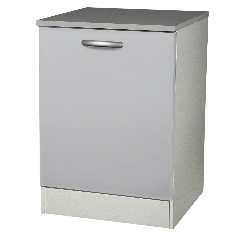 Meuble de cuisine bas 1 porte gris aluminium h86x l60x p60cm leroy merlin - Porte meuble cuisine leroy merlin ...
