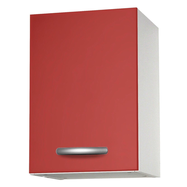 Meuble de cuisine haut 1 porte rouge h57 x l40 x p35 cm for Meuble porte rouge