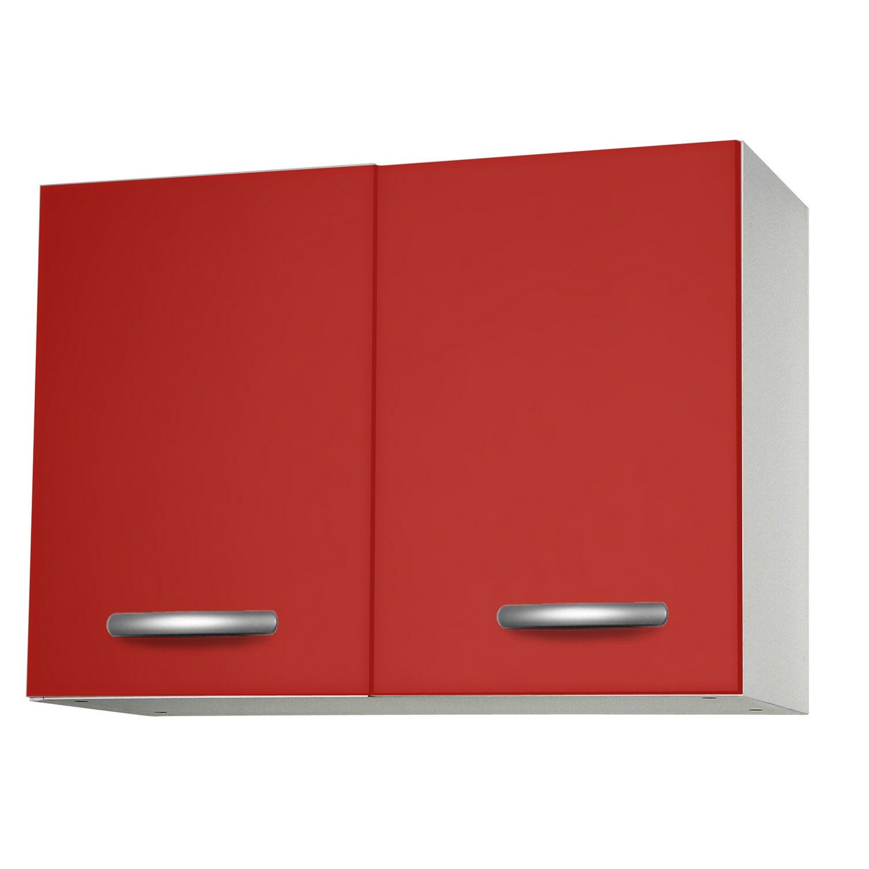 Meuble de cuisine haut 2 portes rouge l80x p35 for Meuble cuisine haut leroy merlin