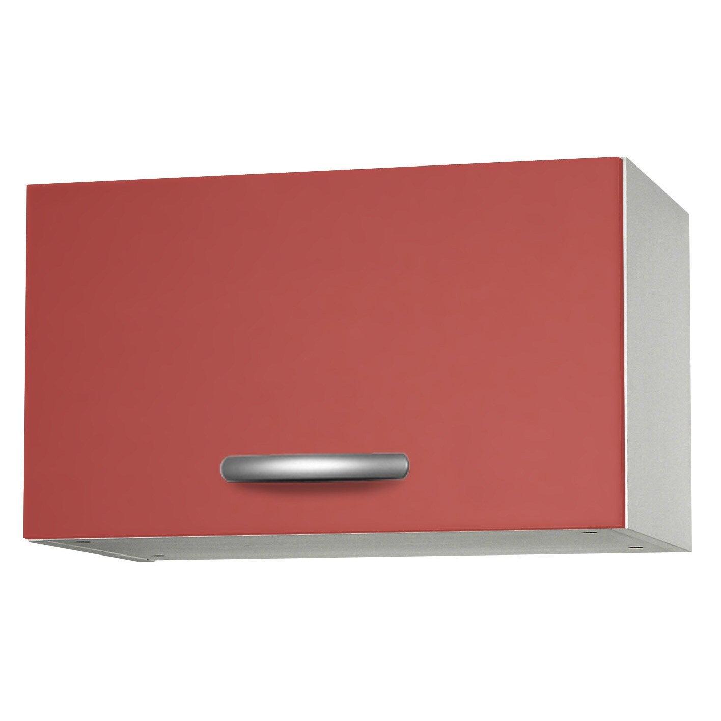 Meuble de cuisine haut 1 porte rouge l60x for Meuble haut cuisine leroy merlin