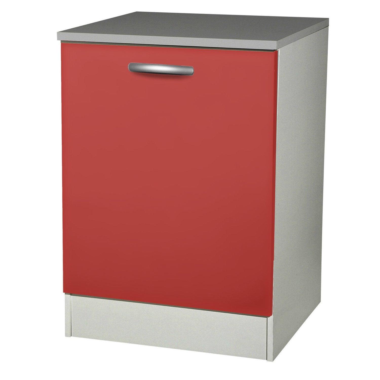 Meuble de cuisine bas 1 porte rouge h86 x l60 x p60 cm for Meuble porte rouge
