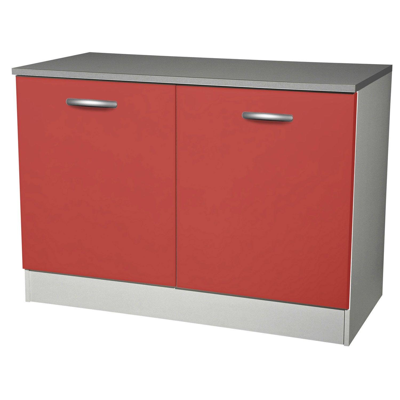 Meuble de cuisine bas 2 portes rouge h86x l120x p60cm - Meuble bas 120 cm cuisine ...