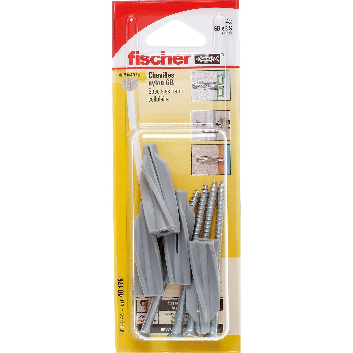 Lot de 4 chevilles vis expansion gb fischer diam 8 x mm leroy merlin - Cheville a frapper leroy merlin ...