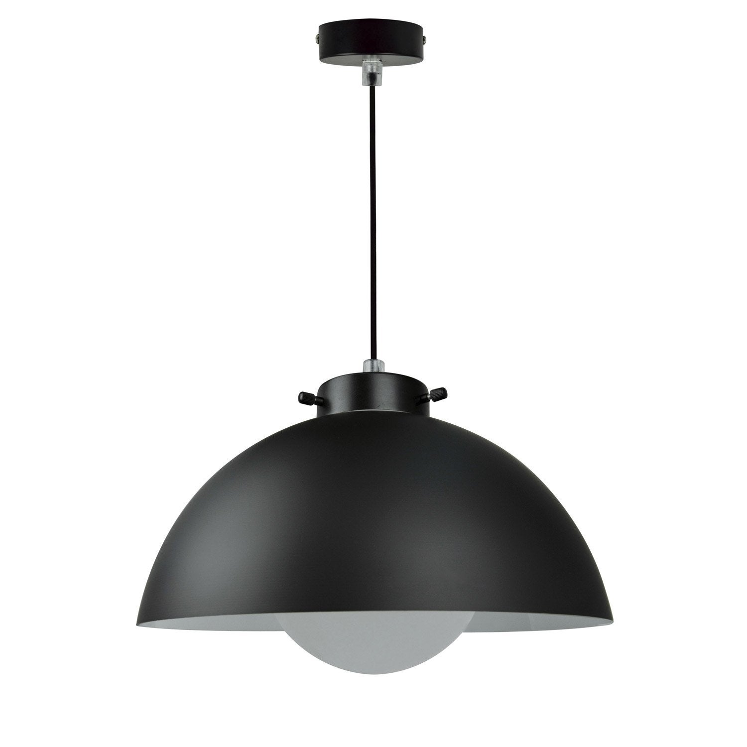 Suspension design kiruna verre noir 1 x 40 w inspire for Luminaire suspendu noir