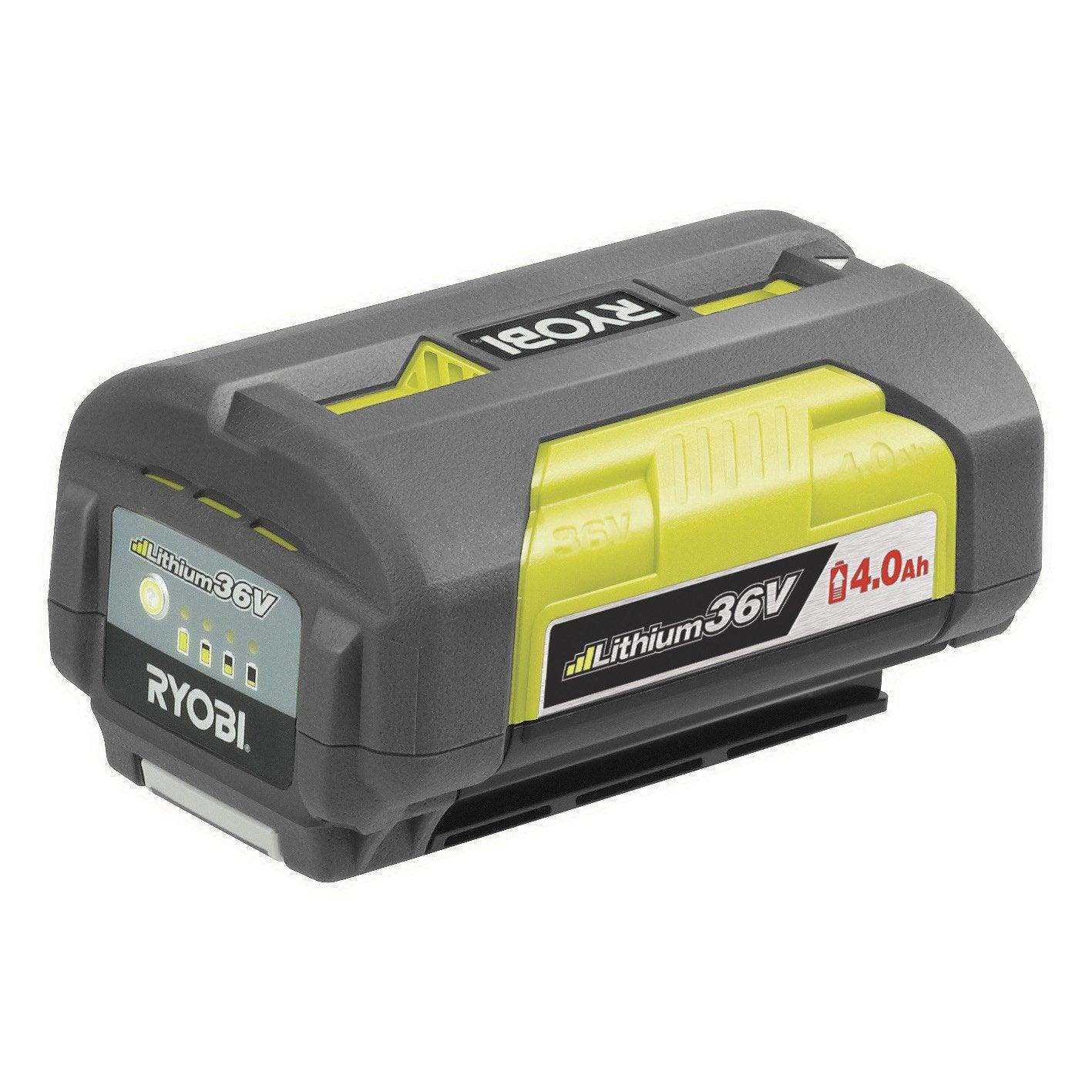 Batterie lithium ion bpl3640 ryobi 36v 4ah leroy merlin for Taille haie ryobi batterie