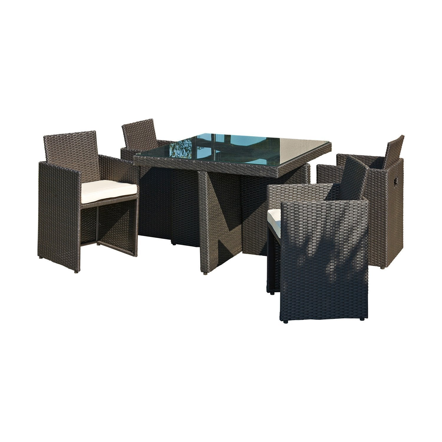 salon de jardin encastrable r sine plastique noir 1. Black Bedroom Furniture Sets. Home Design Ideas