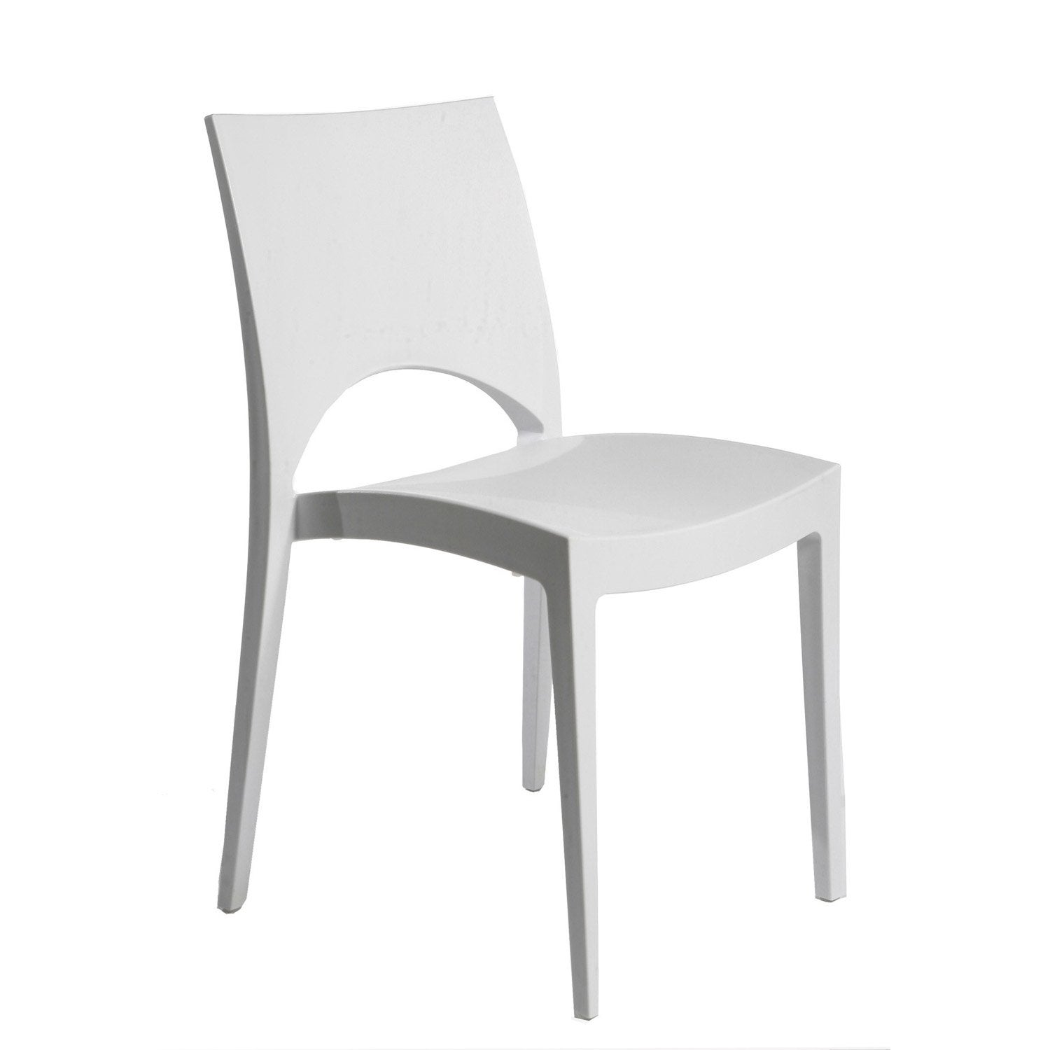 Chaise de jardin en r sine paris greenpol blanc leroy merlin for Chaise blanche plastique