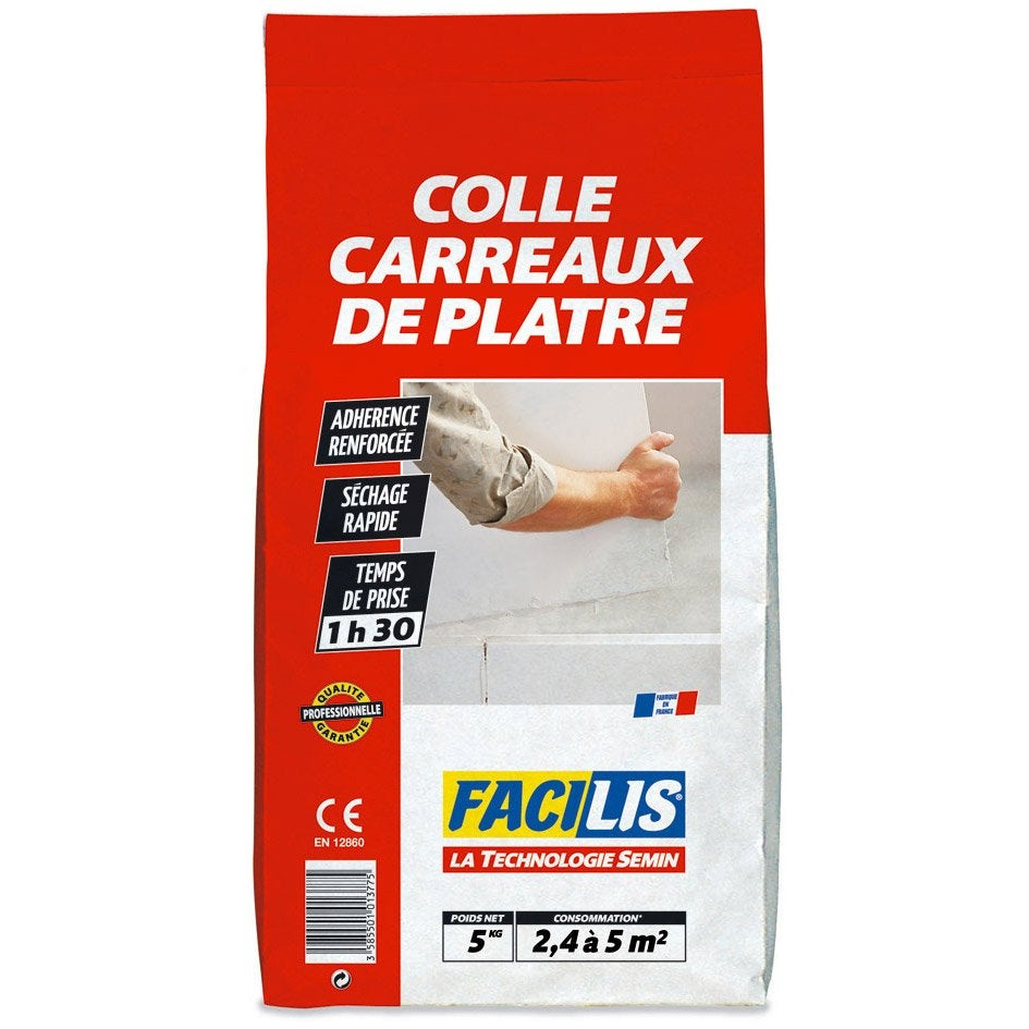 Colle pour carreaux de pl tre facilis 5 kg leroy merlin for Colle carreaux piscine