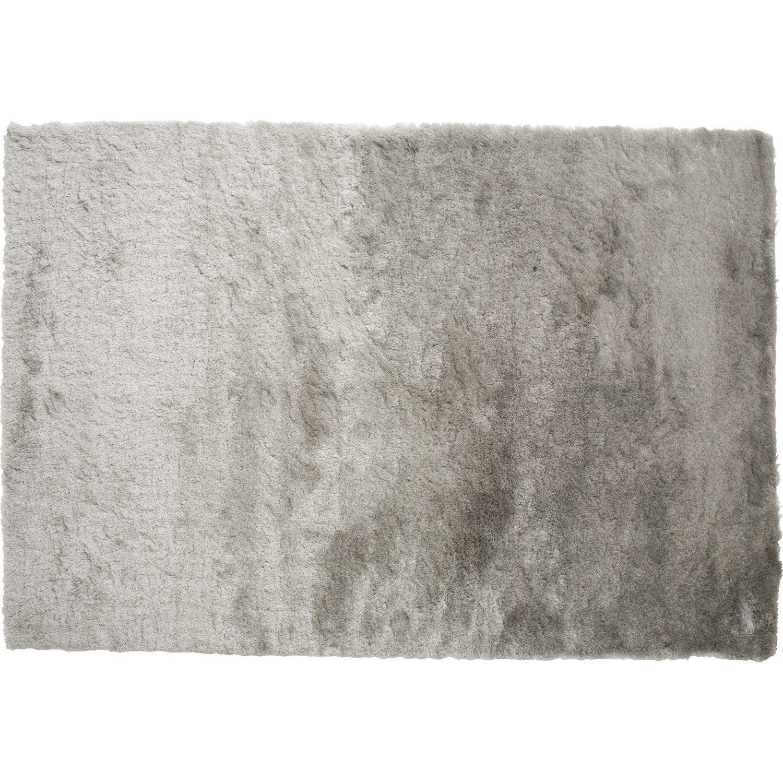Tapis shaggy zelia argent 230x160 cm leroy merlin - Tapis shaggy gris argent ...