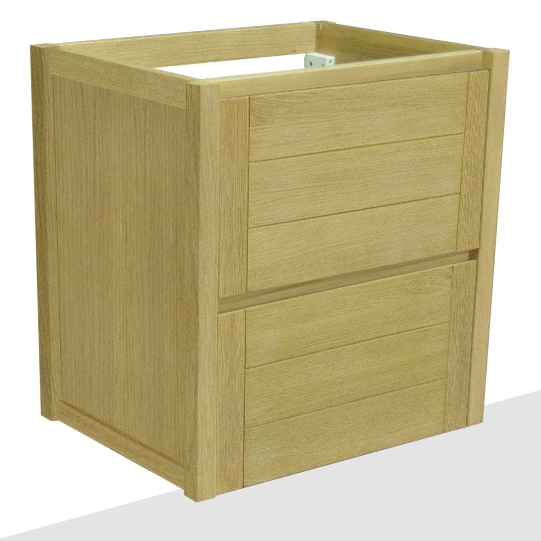 Caisson meuble sous vasque fjord ch ne naturel 2 tiroirs l - Leroy merlin meuble sous vasque ...