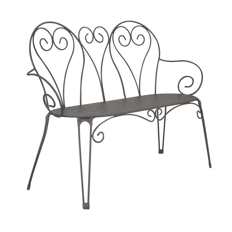 Banc 3 places de jardin en acier romantique gris graphite - Banc de jardin leroy merlin ...