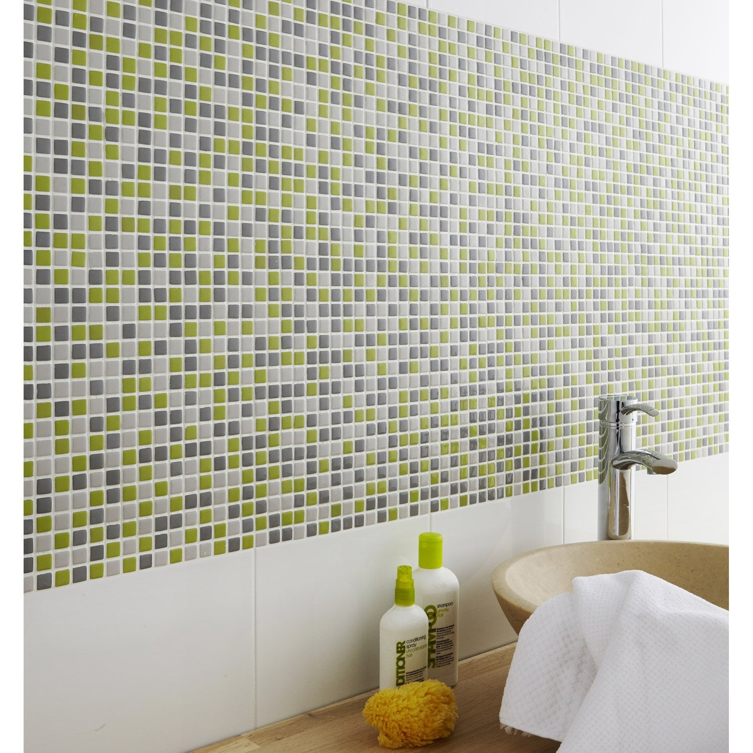 Mosa que pop gris et vert cm leroy merlin for Mosaique travertin leroy merlin