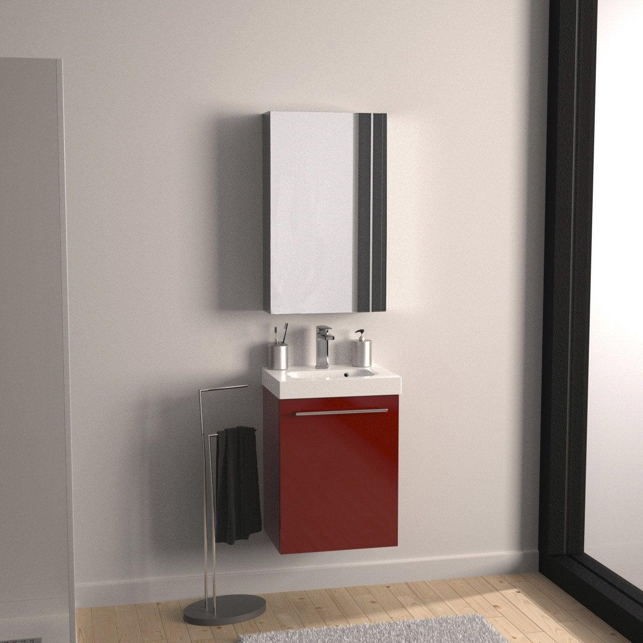 Meuble de salle de bains moins de 60 rouge remix leroy for Meuble tv leroy merlin