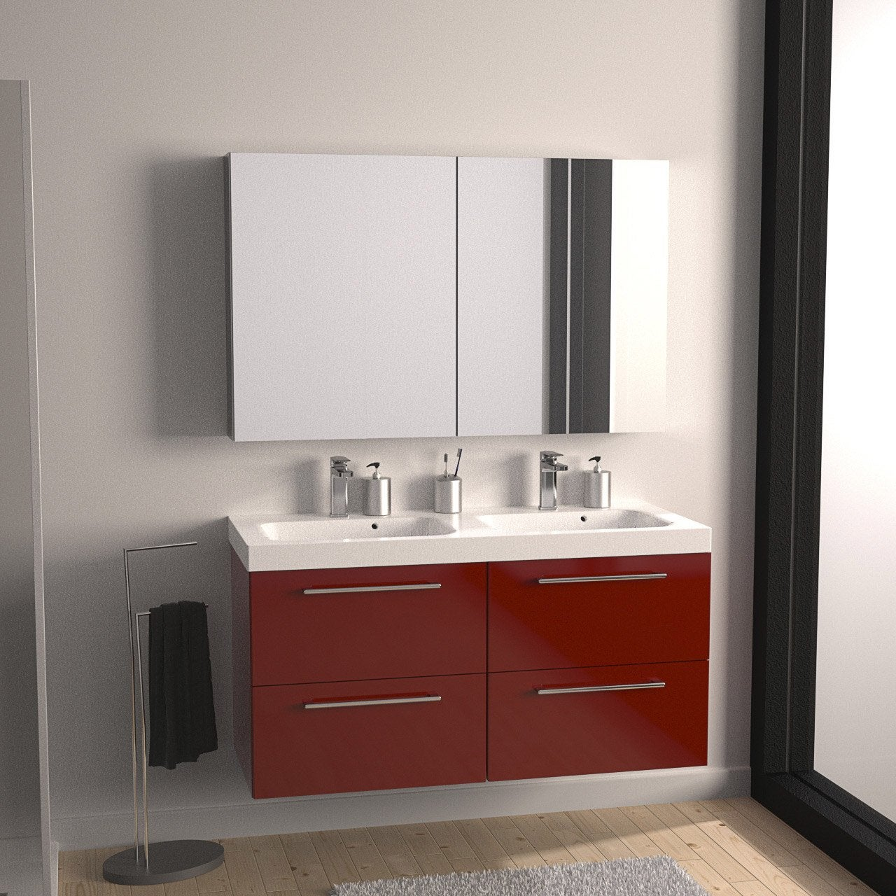 meuble de salle de bains plus de 120 rouge remix leroy. Black Bedroom Furniture Sets. Home Design Ideas