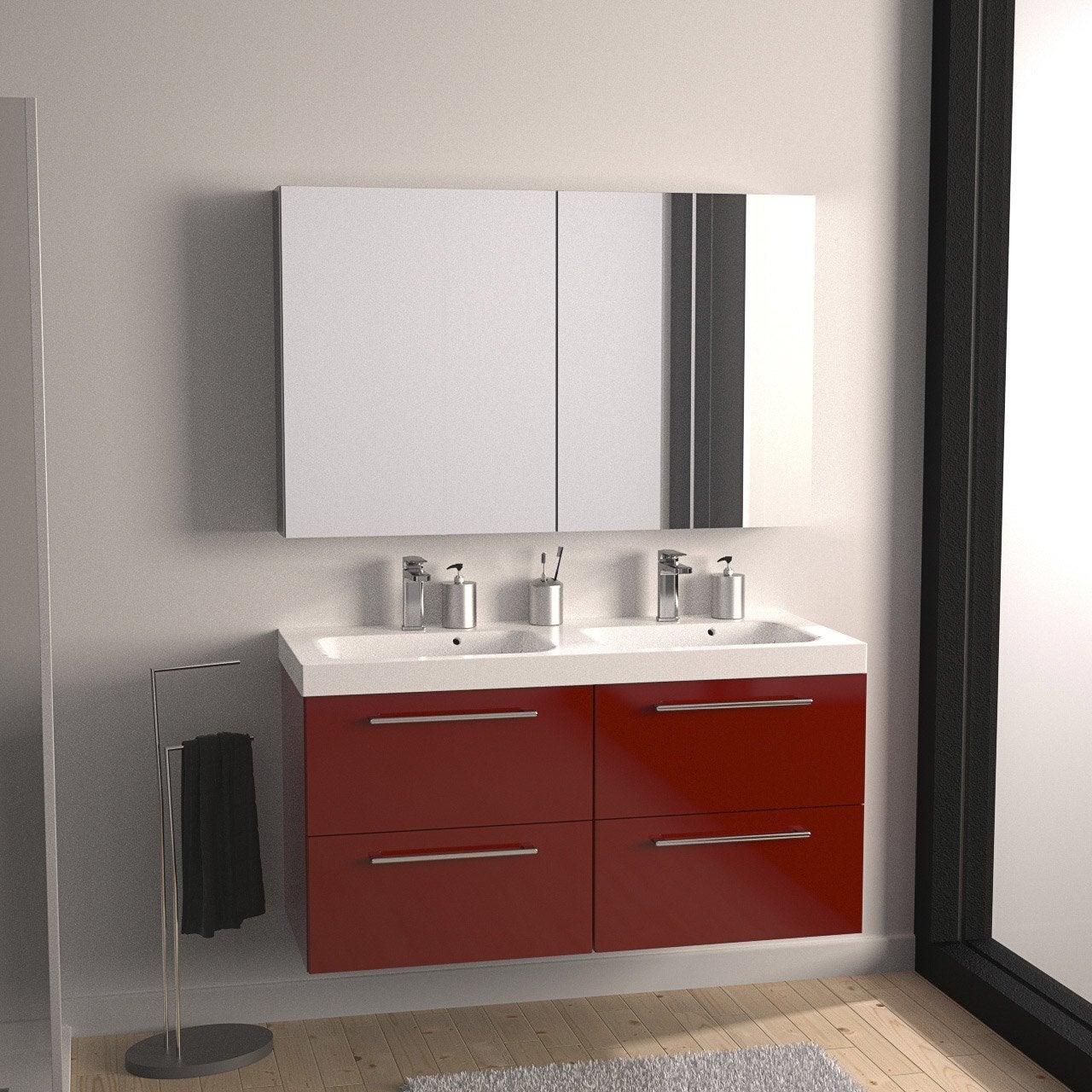 Meuble de salle de bains plus de 120 rouge remix leroy - Meubles salles de bain leroy merlin ...