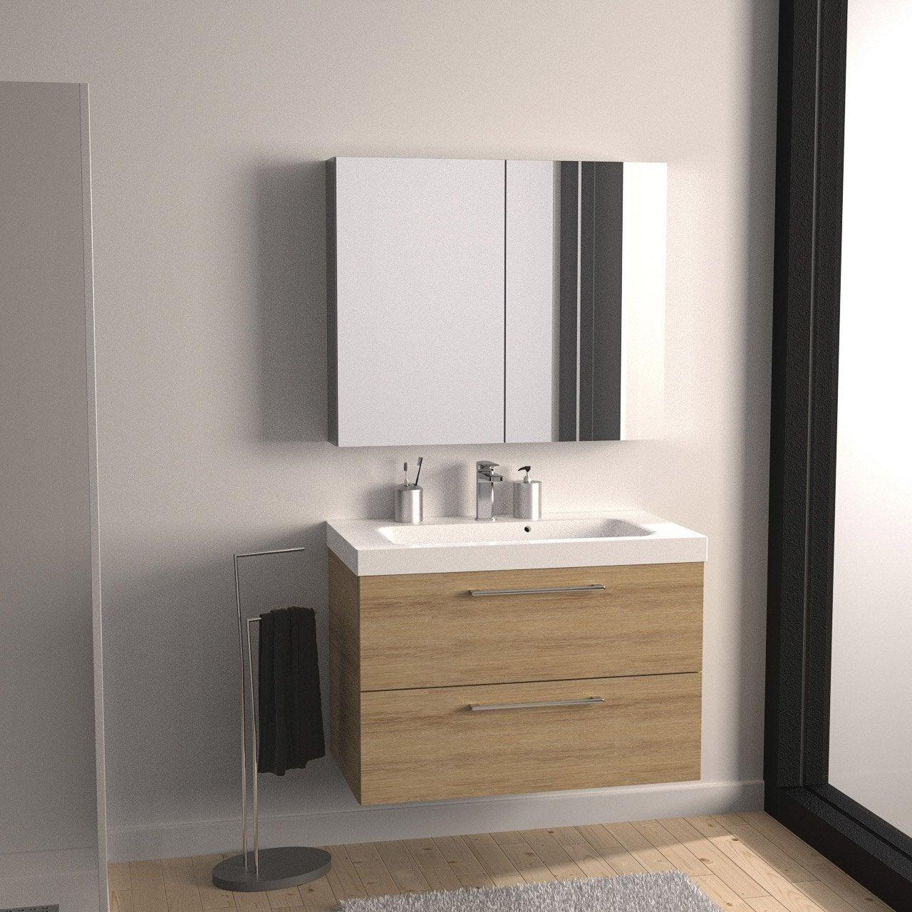 meuble de salle de bains de 80 99 brun marron remix leroy merlin - Prise Pour Salle De Bain Couleur Marron