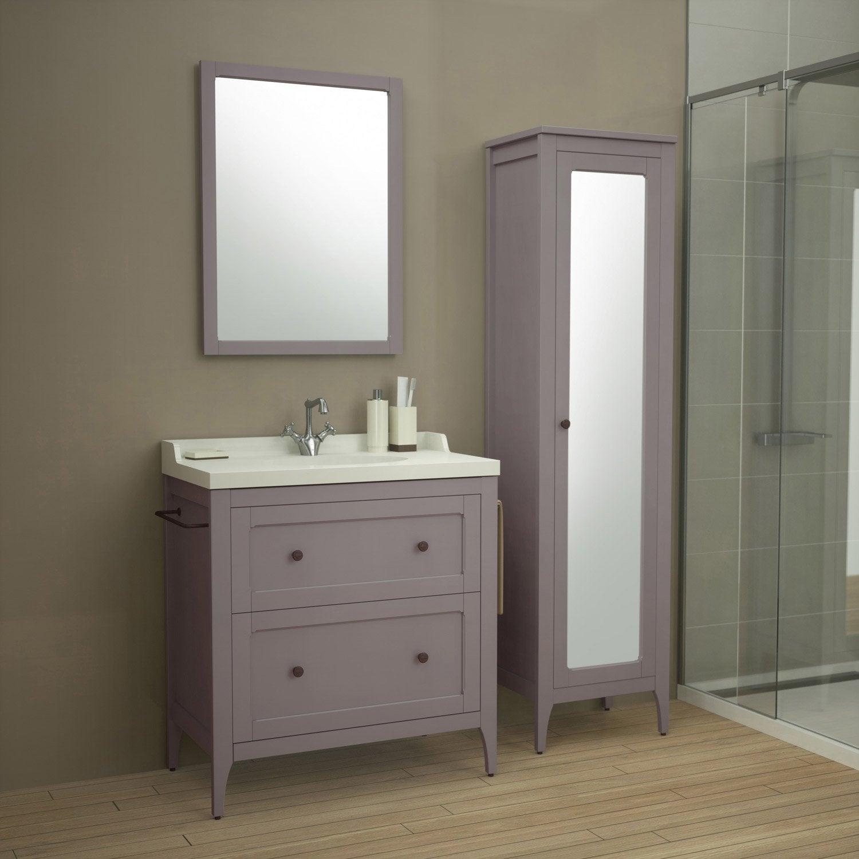 meuble de salle de bains de 80 99 marron ashley leroy merlin - Meuble Salle De Bain Marron